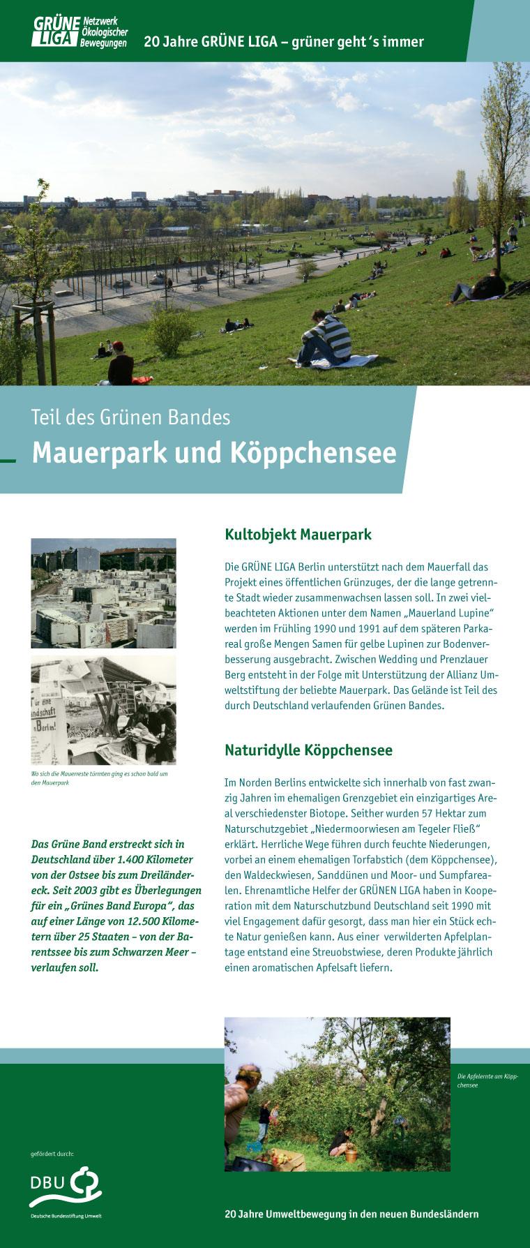 Teil des Grünen Bandes - Mauerpark und Koeppchensee