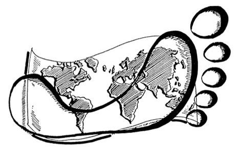 Fußabdruck auf der Erde