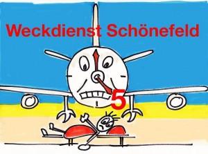 Plakat Fluglaerm: Weckdienst Schönefeld