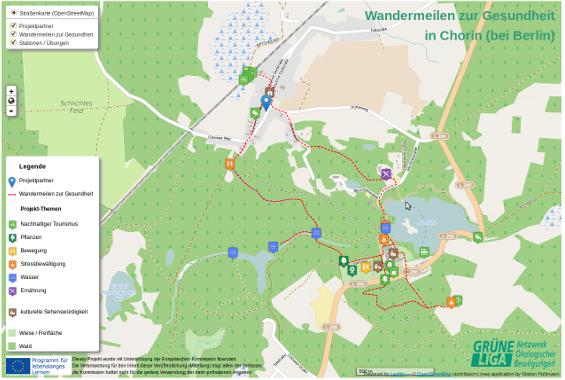 interaktive wanderkarte, wandermeilen zur gesundheit