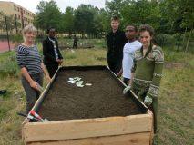 Die ASA-Teilnehmer_innen mit einer Kollegin aus dem Schulgartenprojekt in Marzahn-Hellersdorf